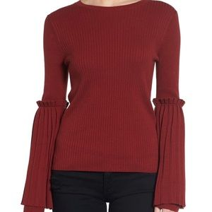 Chelsea28 Pleated Bell Sleeve Ribbed Sweater